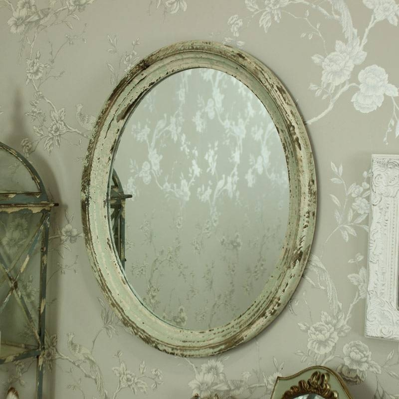 Large Cream / Green Rustic Oval Wall Mirror – Melody Maison® Intended For Cream Wall Mirrors (View 15 of 20)