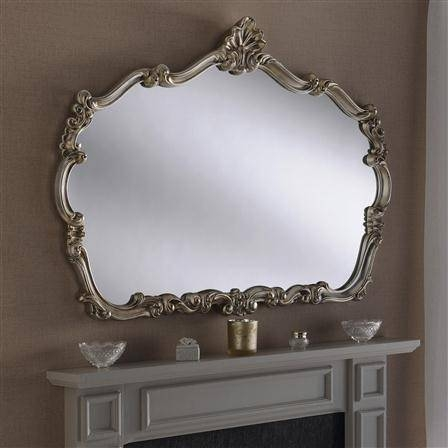 Large Decorative Silver Overmantle Mirror 122 X 89 Cm Large Within Large Overmantle Mirrors (View 11 of 30)