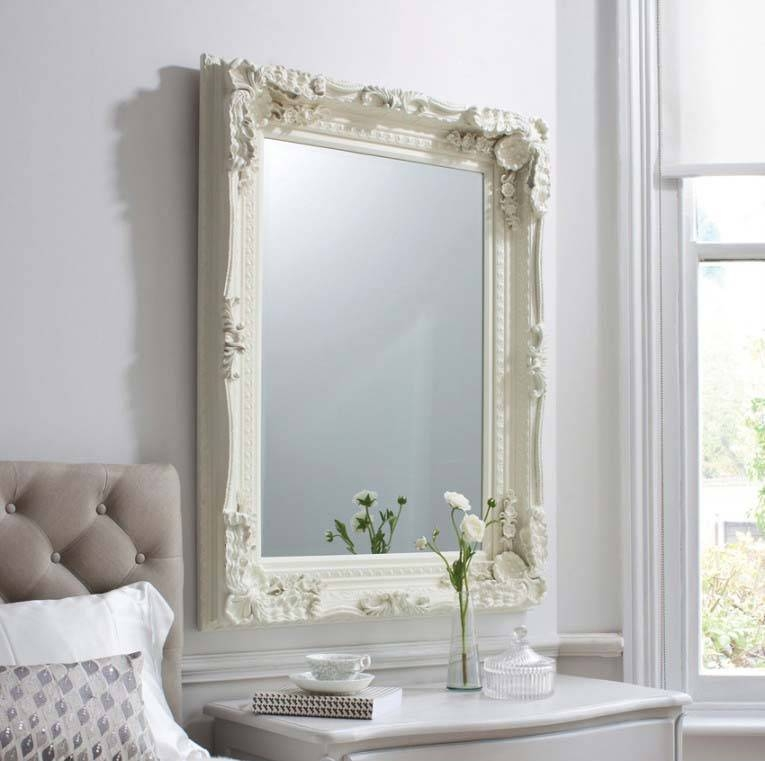 Large Edward Wall Mirror With Cream Frame 122 X 91 Cm Large Edward Intended For Large Cream Mirrors (#24 of 30)
