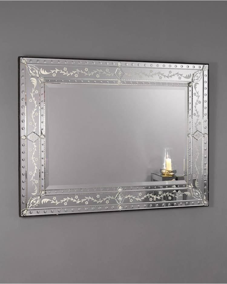 Large Frameless Rectangular Venetian Wall Mirror In Rectangular Venetian Mirrors (#5 of 30)