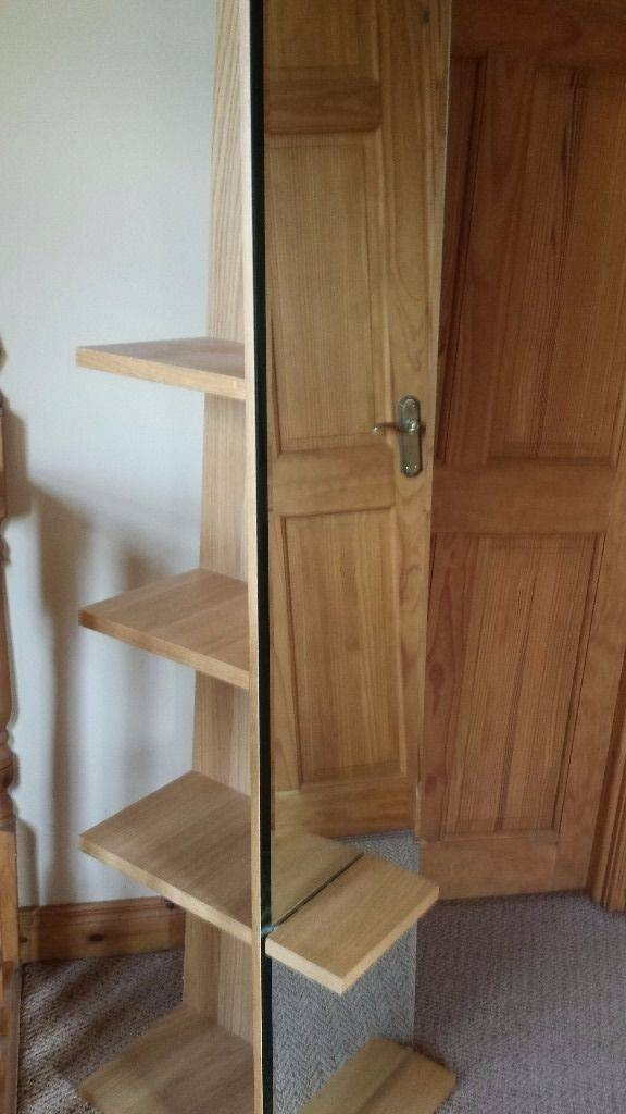 Large Free Standing Oak Mirror With Hidden Shelving (#12 of 15)