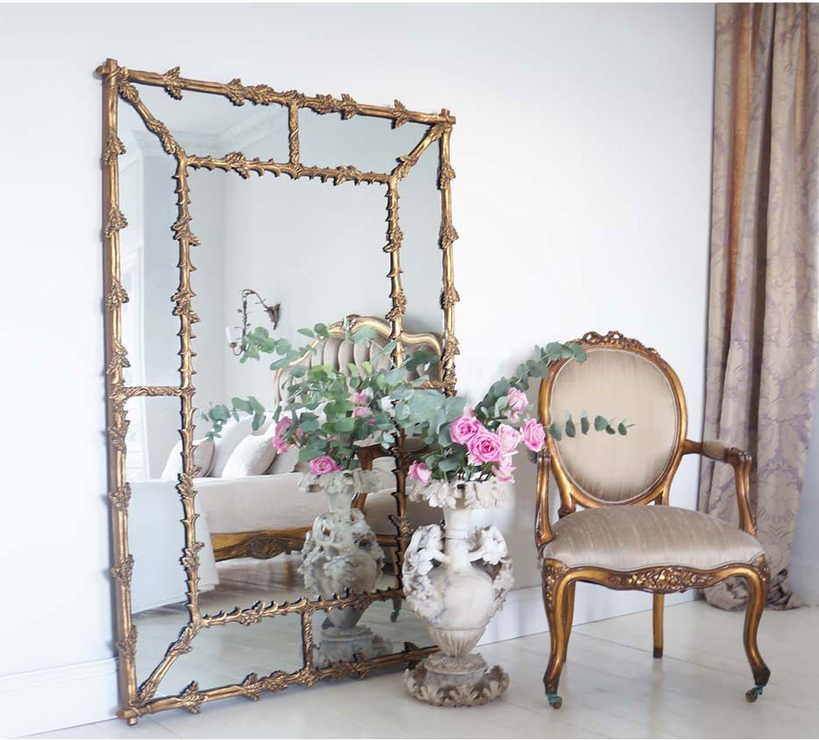 Large French Gold Gilt Mirror Full Length With Oak Leaf Frame In Full Length French Mirrors (#16 of 20)