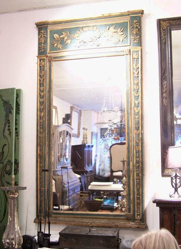 Large French Green Painted Mirror With Gilt C1790 : Item # 7058 Intended For Large French Mirrors (#19 of 20)