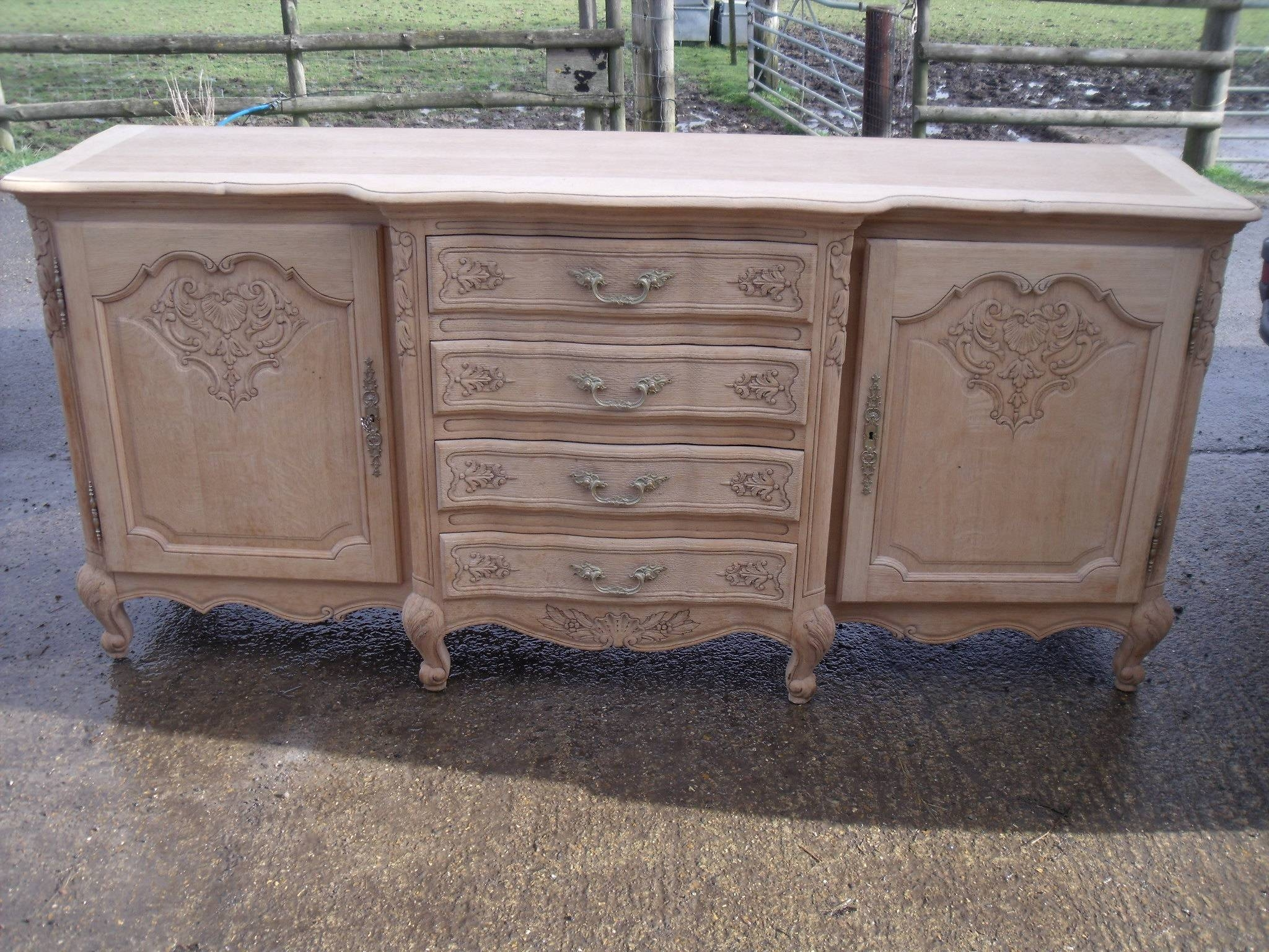 Large French Louis Xv Style Natural Oak Carved Sideboard | Antique Regarding French Style Sideboards (View 11 of 20)