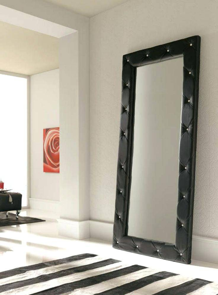 30 inspirations of free standing black mirrors for Full length mirror black frame