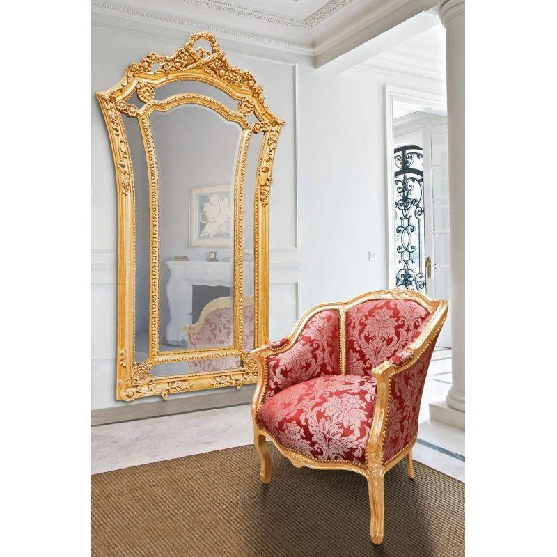 Large Gilt Baroque Mirror In Louis Xvi Style Flared Inside Large Baroque Mirrors (#15 of 20)