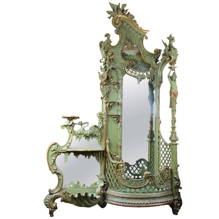 Large Gilt Rococo Style Venetian Hall Tree With Mirror Stand For Within Rococo Style Mirrors (#12 of 30)