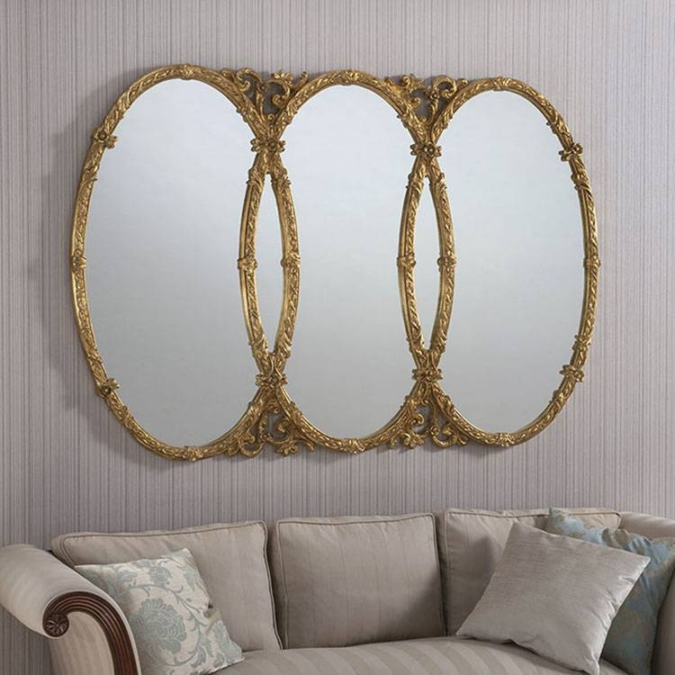 Large Gold Oval Mirror | Tlzholdings Regarding Triple Oval Wall Mirrors (#7 of 20)