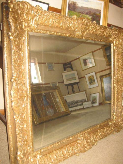 """Large, Heavy Gilt Framed Mirror. Frame Circa 1830 48.5"""" X 40.5"""" (View 13 of 20)"""