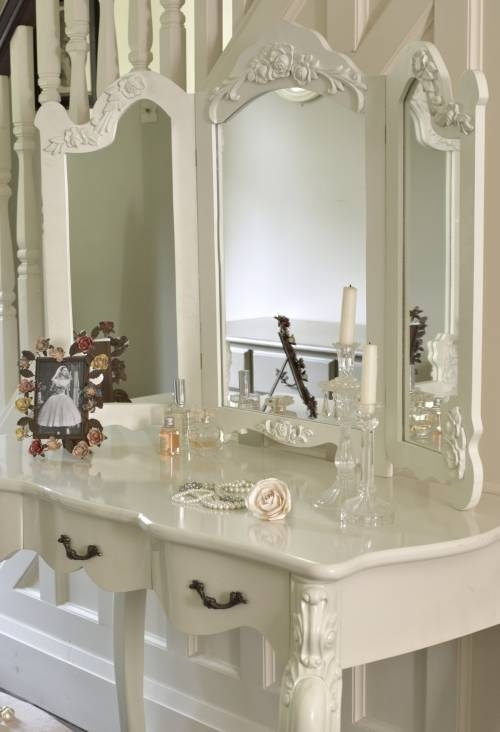 Large Ivory Cream Dressing Table And Mirror Shabby French Vintage Intended For Large Cream Mirrors (#25 of 30)
