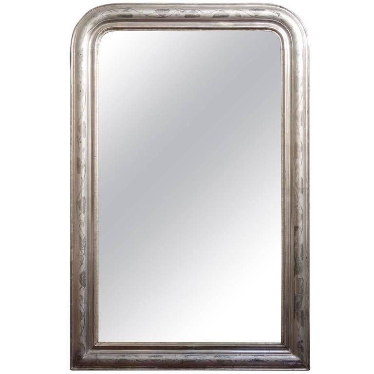 Large Louis Philippe Silver Gilt Mirror (H 48 X W 31 1/2) For Sale Pertaining To Large Silver Gilt Mirrors (#23 of 30)