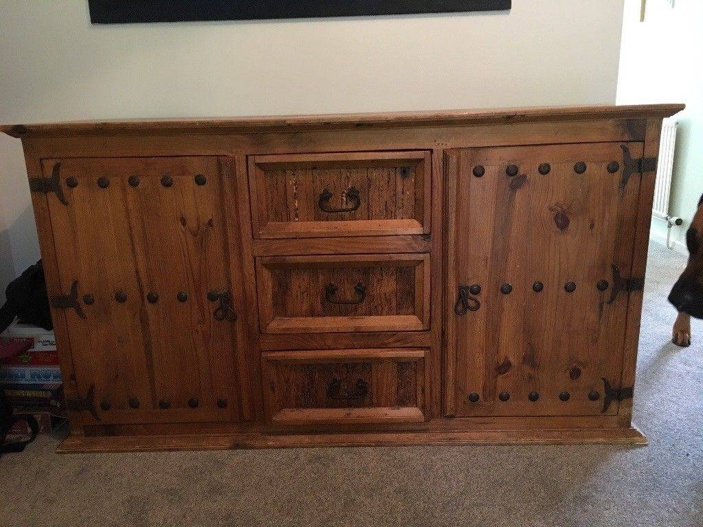 Large Mexican Pine Wooden Sideboard Cupboard Heavy Solid Piece Of Inside Mexican Sideboard (#8 of 20)
