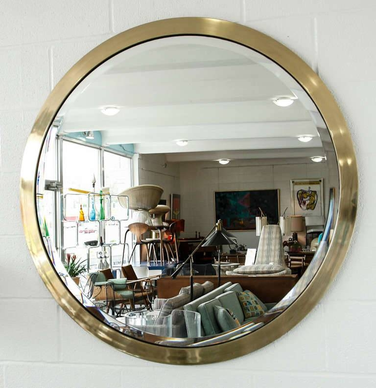 Large Mid Century Round Beveled Mirror In Brass At 1Stdibs Intended For Round Bevelled Mirrors (#7 of 20)
