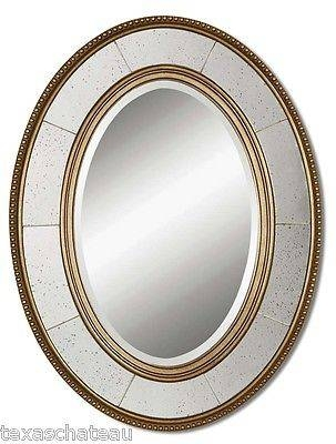 Large Modern French Champagne Silver Oval Wall Mirror Vanity Bath Regarding Silver Oval Wall Mirrors (View 10 of 20)