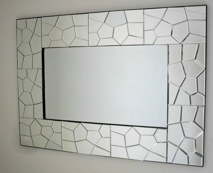 Large Mosaic Multishape Border Frame Wall Mirror Bevelled Inside Large Bevelled Mirrors (View 8 of 20)
