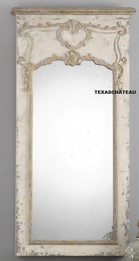 Large Ornate Antique Cream Gold Leaf Baroque Wall Mirror Baroque With Regard To Antique Cream Wall Mirrors (View 13 of 20)