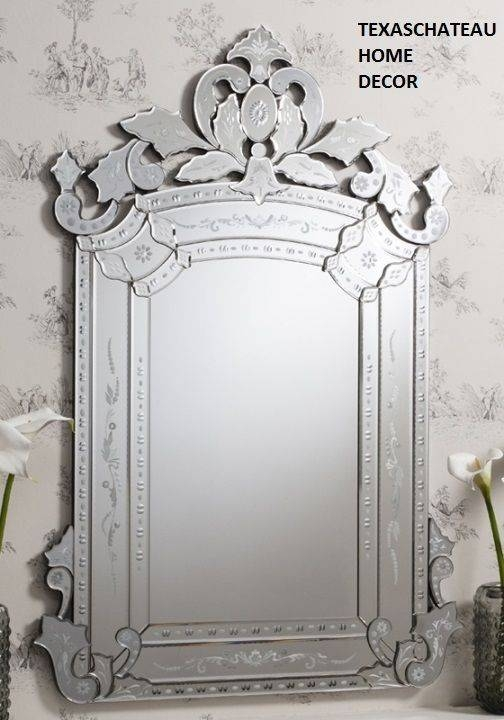 Large Ornate ~ Antique French Venetian Style ~ Wall Mirror Vanity Intended For Venetian Style Wall Mirrors (#8 of 20)