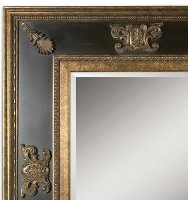 Large Ornate French Antique Gold Black Wood Mirror Bathroom Vanity In Large Gold Ornate Mirrors (View 23 of 30)