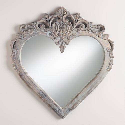 Large Ornate Heart Shaped Wall Mirrors Regarding Heart Shaped Mirrors For Walls (View 2 of 30)