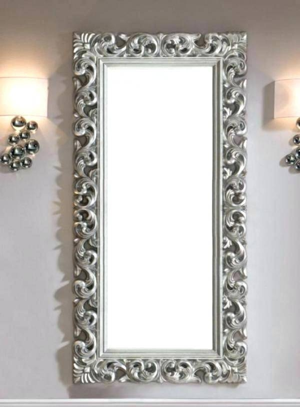 Large Ornate Mirror In Silver Colour Finishvery Contemporary Throughout Large Ornamental Mirrors (View 11 of 15)