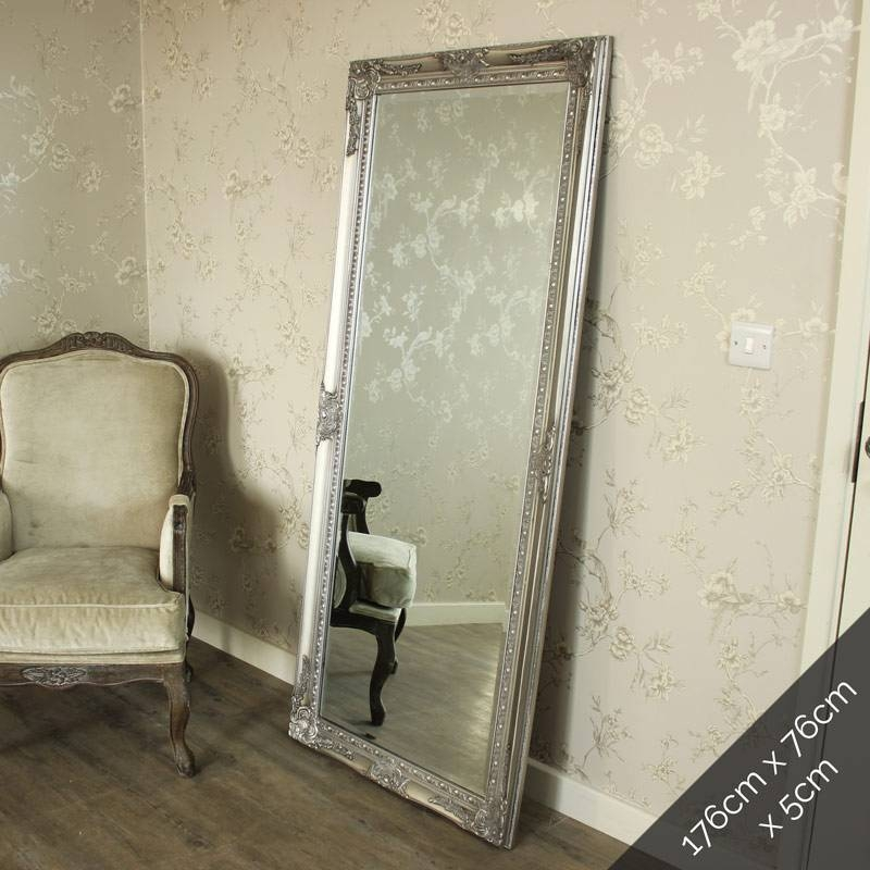 Large Ornate Silver Wall/floor Mirror – Melody Maison® Inside Large Ornate Silver Mirrors (View 13 of 20)