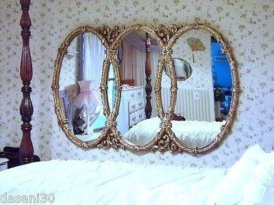 Large Ornate Wall Mirror Triple Oval Mirror Syroco Mirror Gold Pertaining To Triple Oval Wall Mirrors (#8 of 20)