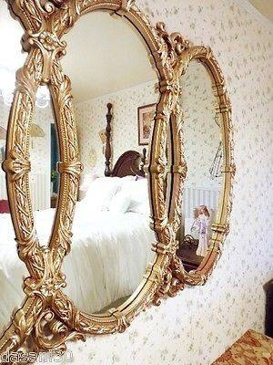 Large Ornate Wall Mirror Triple Oval Mirror Syroco Mirror Gold With Regard To Triple Oval Wall Mirrors (#9 of 20)