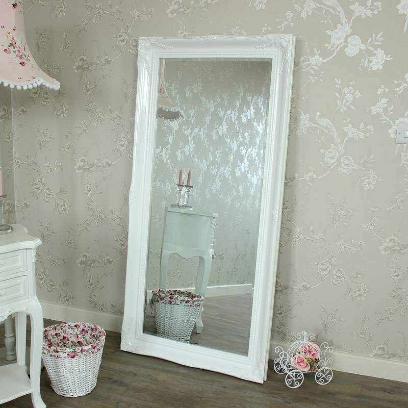 Large Ornate White Gloss Wall/floor Mirror – Melody Maison® Pertaining To Large Ornate Mirrors For Wall (#12 of 20)