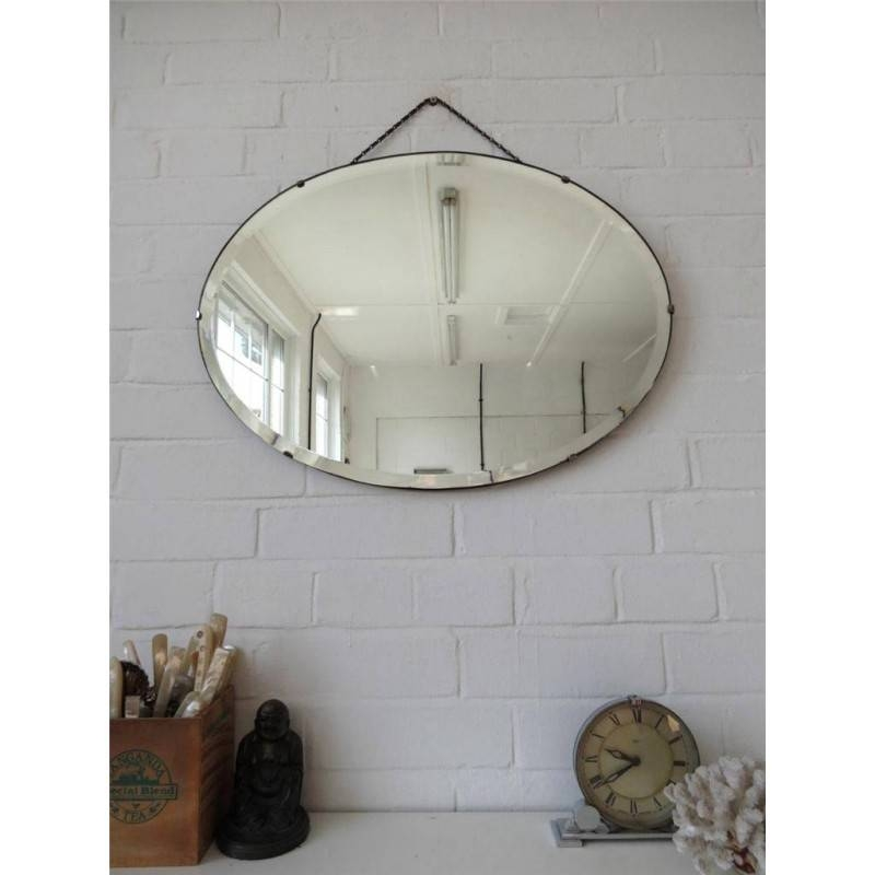 Large Oval Bevelled Edge Art Deco Wall Mirror Regarding Bevelled Oval Mirrors (#12 of 20)