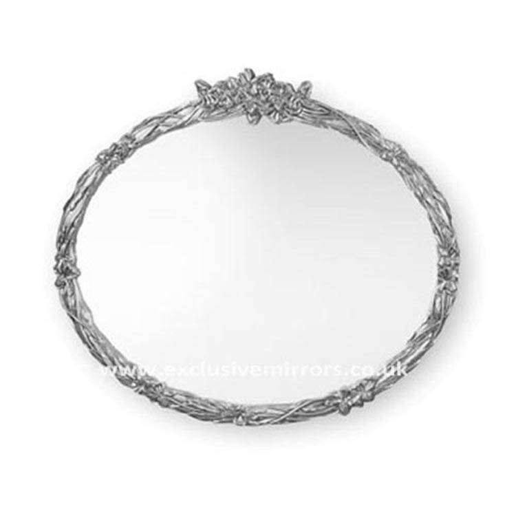 Large Oval Mirror With Silver Leaf Effect Frame 127 X 117 Cm Large Within Silver Oval Mirrors (#11 of 20)