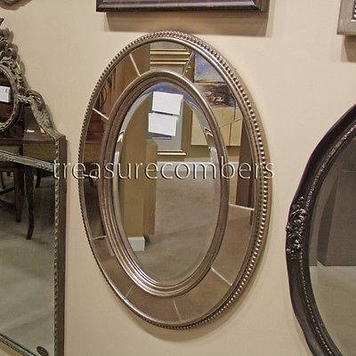 Large Oval Wall Mirror – Antiqued Silver Gold Frame 33 Pertaining To Large Oval Wall Mirrors (#16 of 30)