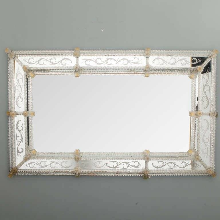 Large Rectangular Venetian Mirror With Gold Leaves And Flowers At In Rectangular Venetian Mirrors (#7 of 30)