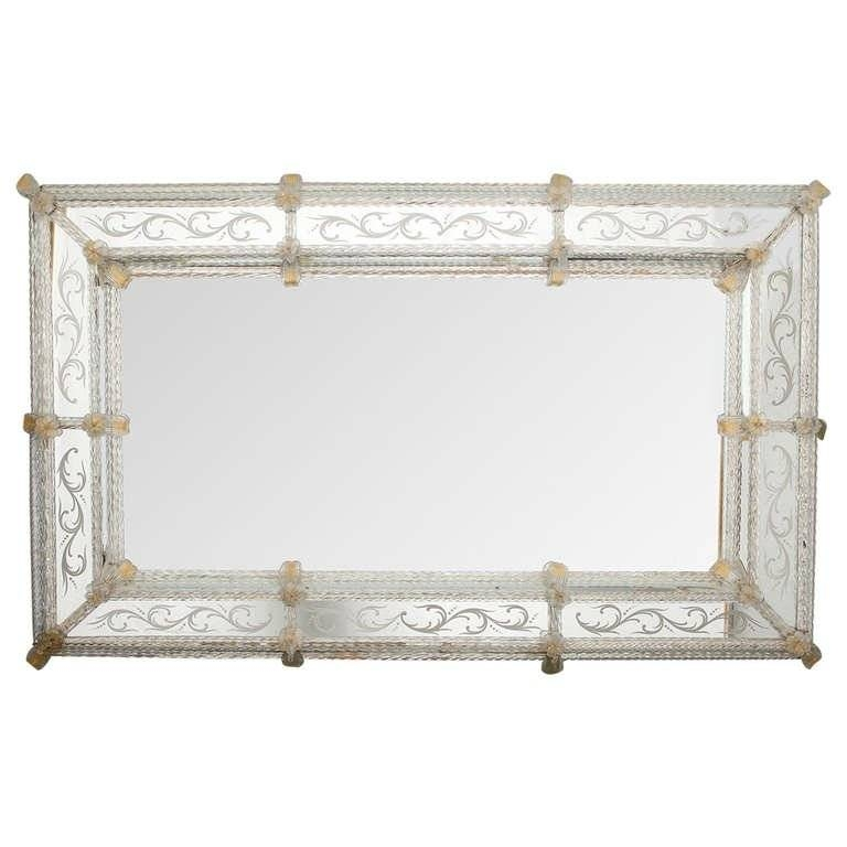 Large Rectangular Venetian Mirror With Gold Leaves And Flowers At Throughout Rectangular Venetian Mirrors (#8 of 30)