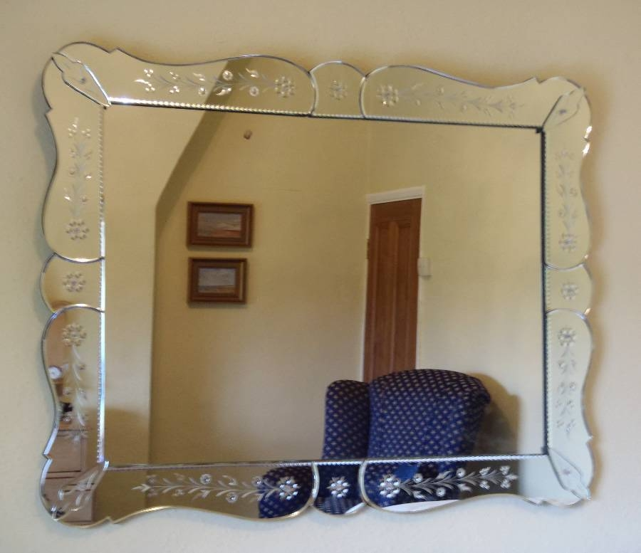 Large Rectangular Venetian Style Mirror – Landscape/portrait In With Rectangular Venetian Mirrors (#9 of 30)