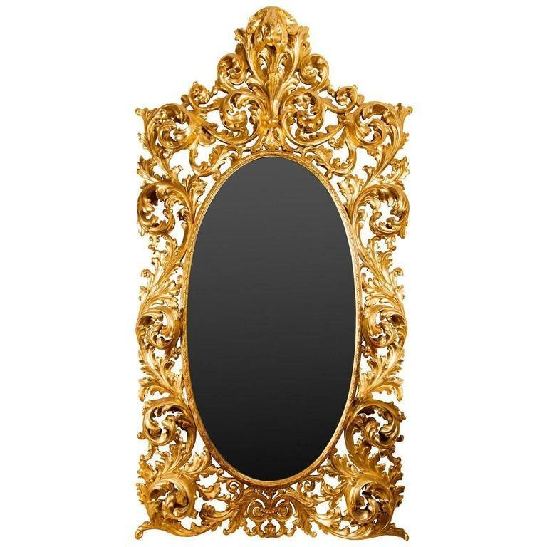Large Rococo Style Giltwood Gesso Mirror For Sale At 1Stdibs Within Rococo Style Mirrors (#14 of 30)