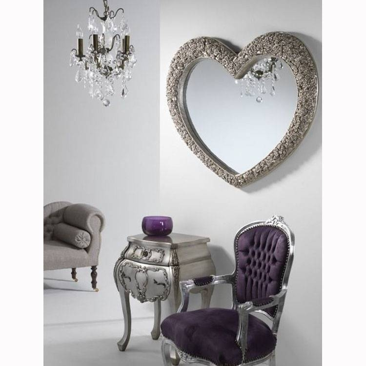 Large Rose Frame Heart Wall Mirror In Champagne Silver 110Cm X With Heart Shaped Mirrors For Wall (#15 of 20)