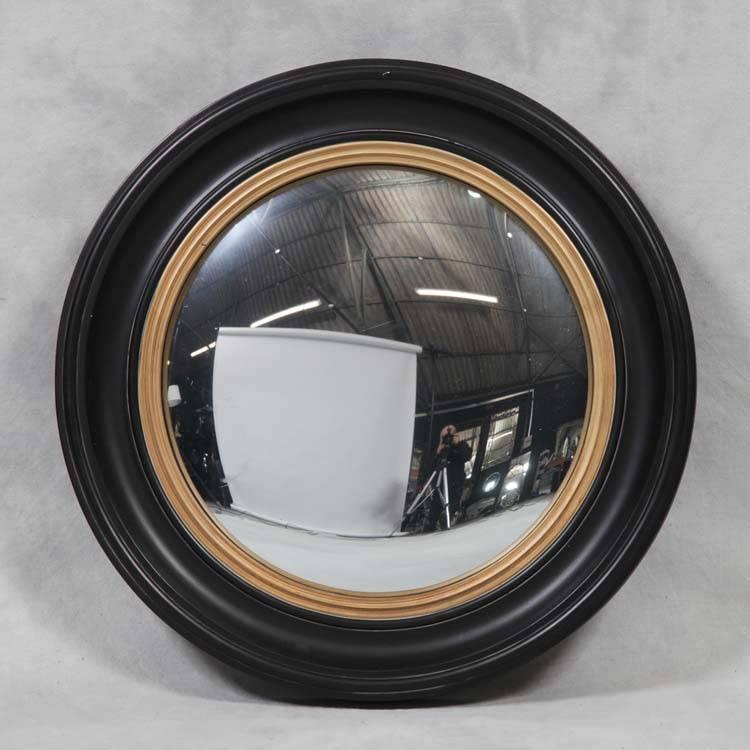Large Round Black Convex Mirror 74 X 74 X 5 Cm Round Black Convex For Black Convex Mirrors (#11 of 20)