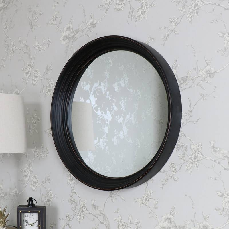 Large Round Black Wall Mounted Mirror – Melody Maison® With Large Round Black Mirrors (View 25 of 30)