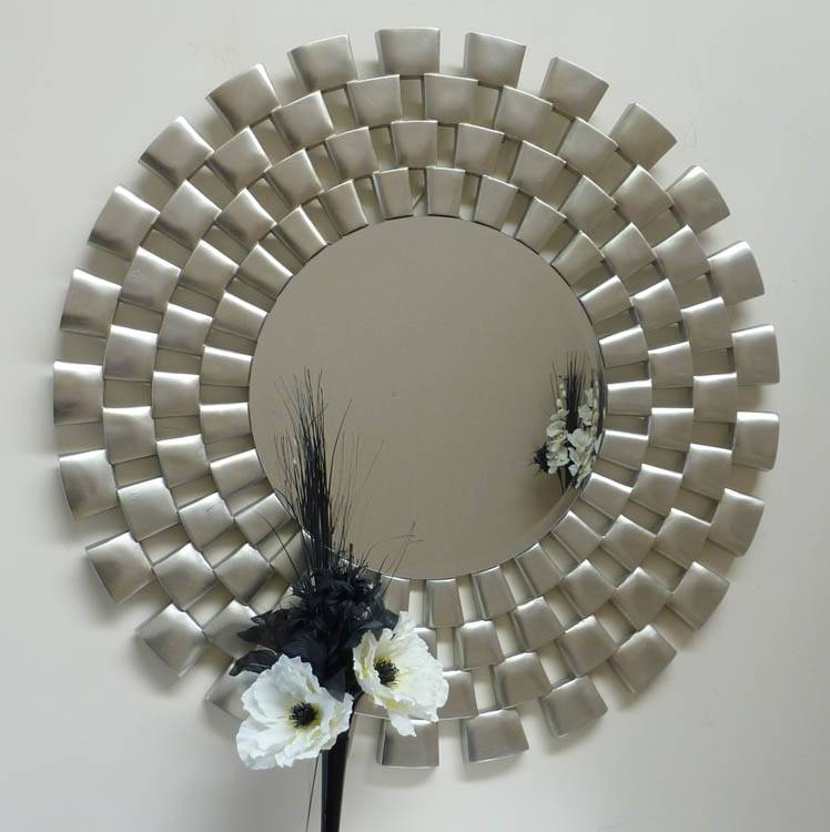 Large Round Champagne Silver Clinks Mirror 121Cm Large Round Within Round Silver Mirrors (#16 of 30)