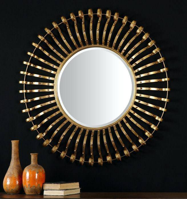 Large Round Gold Mirror – Shopwiz Within Extra Large Black Mirrors (#27 of 30)