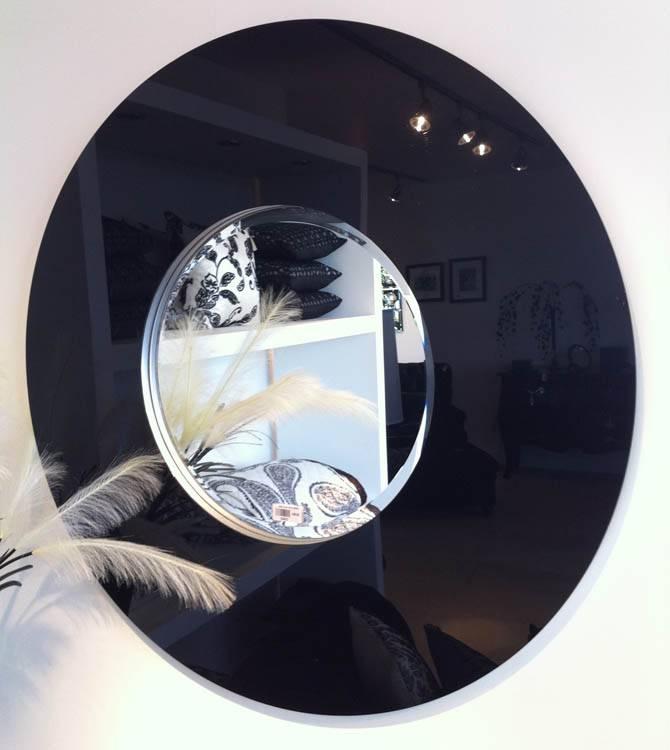 Large Round Mirror Black Glass Frame 102 Cm Round Black Glass Within Large Round Black Mirrors (#23 of 30)
