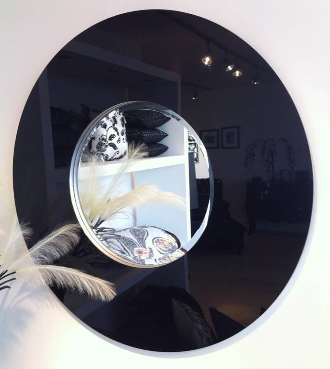 Large Round Mirror Black Glass Frame 102 Cm Round Black Glass Within Large Round Black Mirrors (View 20 of 30)