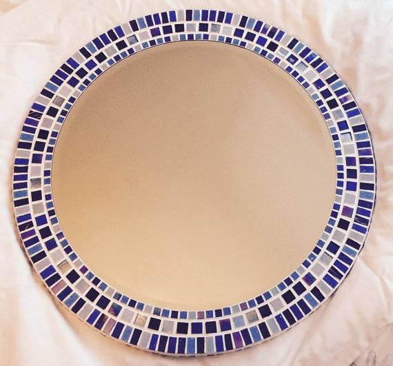 Large Round Mosaic Mirror In Shades Of Blue 50Cm Bathroom Regarding Round Mosaic Mirrors (#21 of 30)