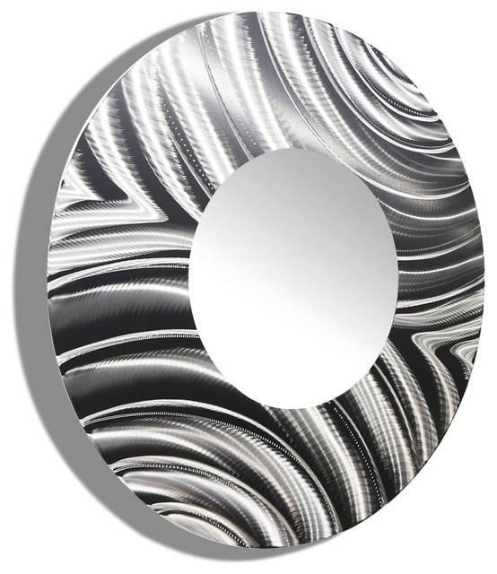 Large Round Silver Modern Metal Mirror – Contemporary Metal Art Within Large Round Metal Mirrors (View 18 of 30)