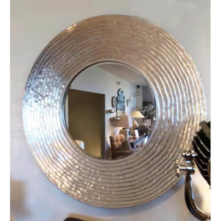 Large Round Silver Ripple Mirror 108Cm Round Silver Ripple Mirror Throughout Large Circular Mirrors (#16 of 20)