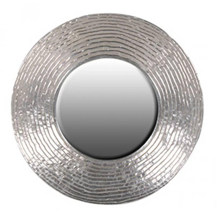 Large Round Silver Ripple Mirror 108Cm Round Silver Ripple Mirror Within Silver Round Mirrors (#19 of 30)