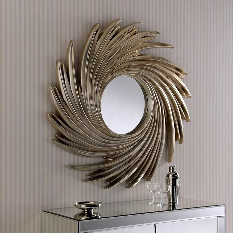 Large Round Silver Swirl Frame Mirror 99 X 99Cm Round Champagne Throughout Champagne Silver Mirrors (#10 of 15)