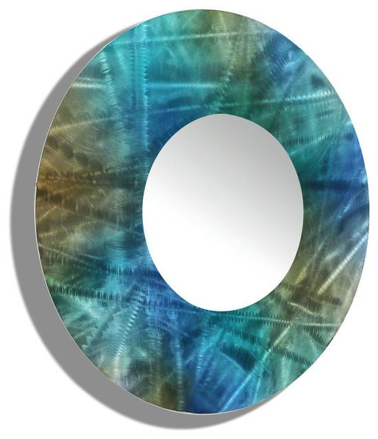 Large Round Wall Mirror – Contemporary Blue And Green Mirror Throughout Blue Round Mirrors (#20 of 30)