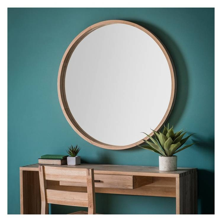 Large Round Wooden Wall Mirror 100Cm | Exclusive Mirrors With Regard To Large Round Wooden Mirrors (#15 of 20)