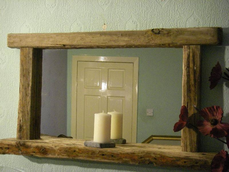Large Rustic Chunky Farmhouse Reclaimed Wood Driftwood Mirror With For Rustic Oak Mirrors (#9 of 20)